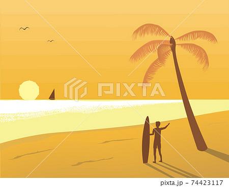 夕日とサーファー 74423117