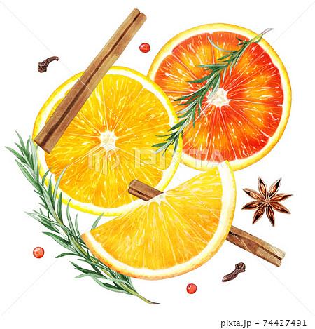 オレンジスパイスティーの材料のイラスト  74427491