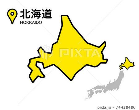北海道のデフォルメ地図のベクターイラスト素材 74428486