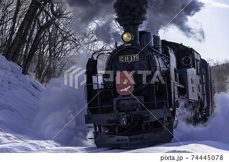SL冬の湿原号 黒煙・雪飛沫 74445078