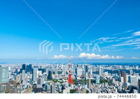 東京都心のパノラマ都市風景・夏の街並み眺望(東京都港区) 74446850