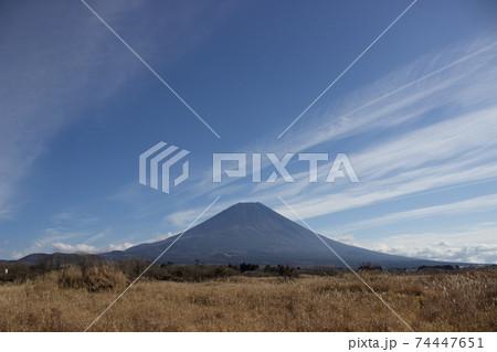 山肌の見える冬の富士山と朝霧高原 74447651