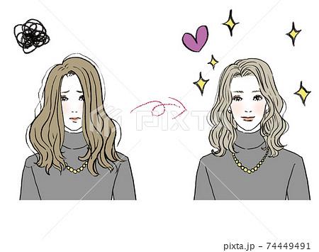 美容_ヘアスタイルイラスト 74449491