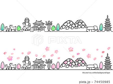 手書きの奈良の春の街並みシンプル線画セット 74450985