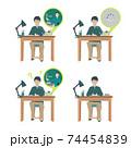 自宅学習をする男の子【オンライン授業・オンライン学習・自宅・回線落ち・塾・リモート】イラスト 74454839