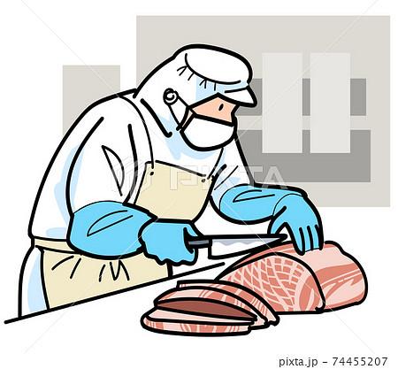 食肉加工の作業をする従業員 74455207