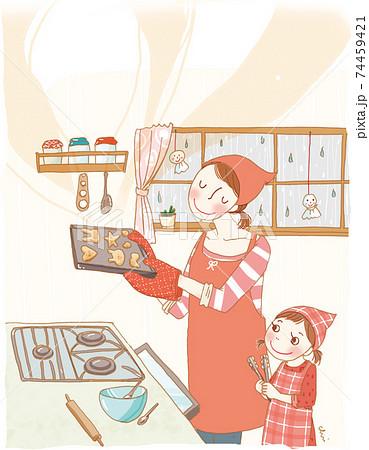 家で料理をする親子。 74459421