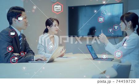 ビジネスとテクノロジー 会議シーン 74459720