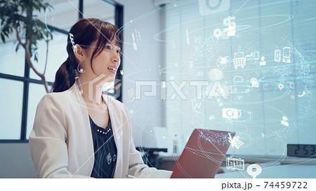 ビジネスとネットワーク ビジネスウーマン 74459722