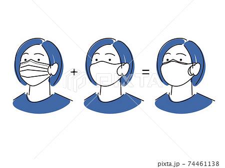 二重にマスクを着用している女性 シンプル イラスト ベクター 74461138