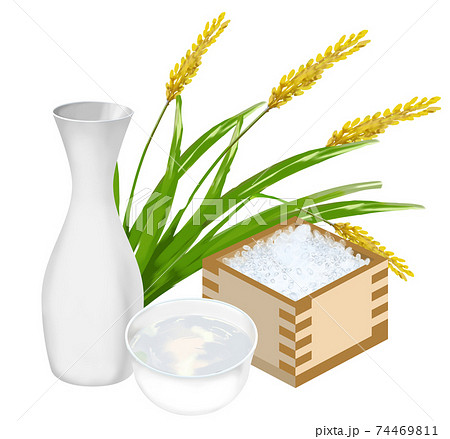 稲穂と酒米と日本酒 74469811