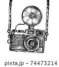Retro camera with flash vintage vector sketch 74473214