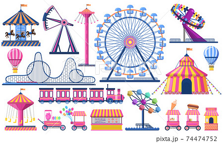 Amusement park. Circus festival tent, roller coaster, train, ferris wheel and carnival carousel. Kids entertainment park vector illustration set 74474752