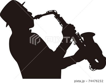 ジャズ サックス演奏 シルエット 74476232