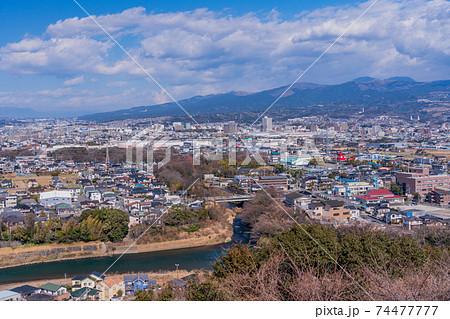 (静岡県)清水町本城山公園から望む、柿田川流れ出しと周辺の住宅地 74477777