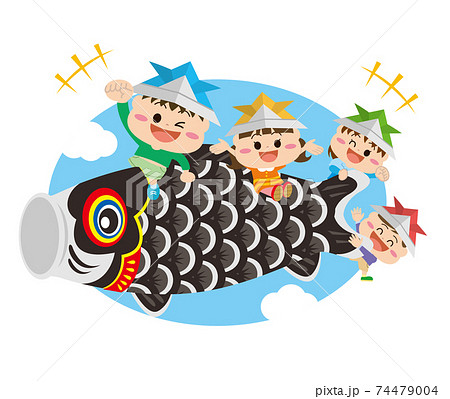 こどもの日/鯉のぼりに乗る子どもたち 74479004
