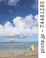 沖縄県本部町備瀬海岸から見るエメラルドグリーン青い海の伊江島 74481285