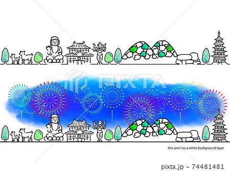 奈良の街並みと花火のシンプル線画セット 74481481