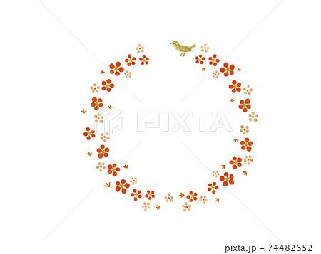 ウグイスと花(和風フレーム) 74482652