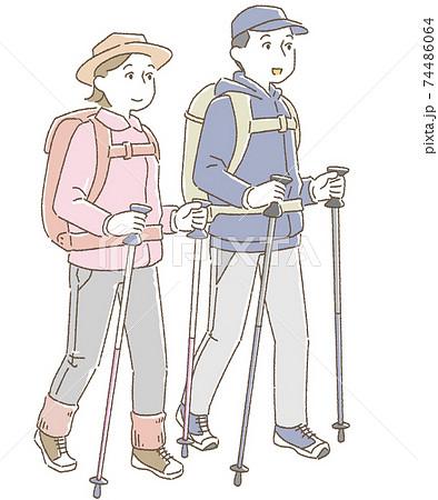 登山をする男女 背景なし 74486064