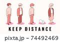社会的距離をとるアイソメトリックな人物 74492469