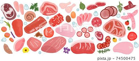 色々な種類の生肉と香草の背景イラスト 74500475