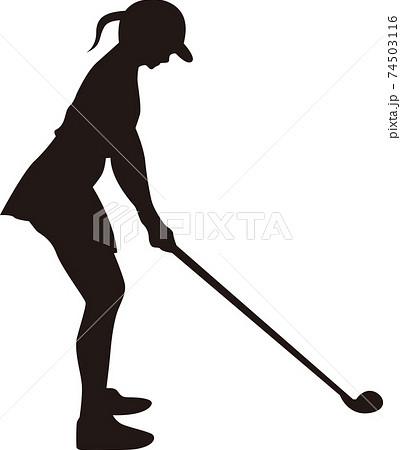 女性ゴルファー シルエット 74503116