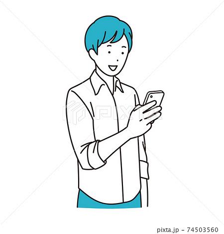 スマホを使う若い男性 74503560