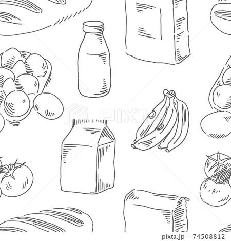 Food seamless pattern. Breakfast theme vector background 74508812