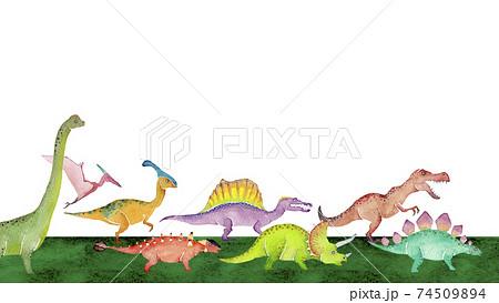 歩く恐竜 背景 フレーム 水彩 イラスト 横長 74509894