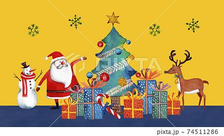 クリスマス サンタクロース 水彩 イラスト 横長 74511286