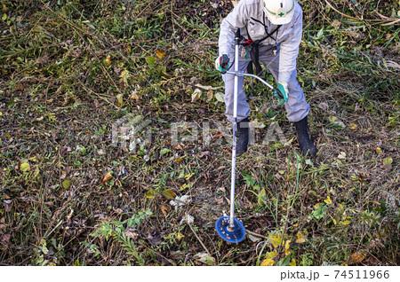 電動草刈機で法面の雑草を刈る植木職人 74511966