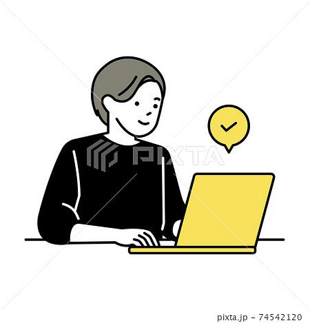 ノートパソコンで仕事をする男性 74542120