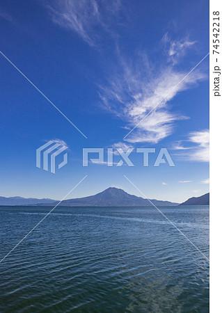 重富海岸から見た桜島の風景 鹿児島県姶良市 74542218