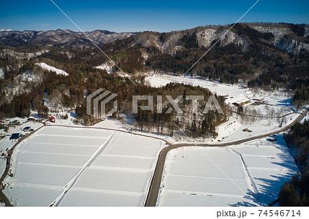 空から見る白馬クロスカントリー競技場(スノーハープ)長野県白馬村(ドローンによる空撮) 74546714
