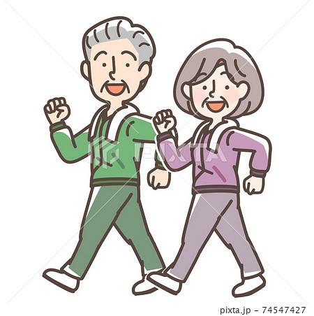 ウォーキングをする男女 お年寄り 74547427