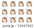 女性の顔イラスト(表情いろいろ) 74547502