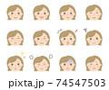 女性の顔イラスト(表情いろいろ) 74547503