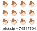 女性の顔イラスト(表情いろいろ) 74547504