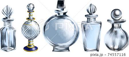 華やかなデザインの香水瓶5本セット 線画無し ベクター素材 74557116