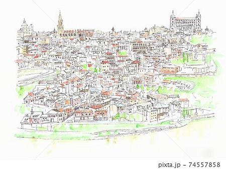 世界遺産の街並み・スペイン・トレド旧市街 74557858