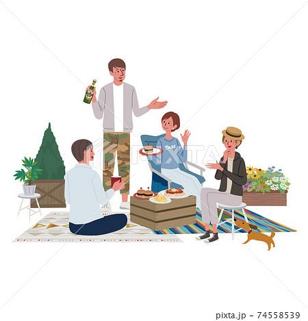 ベランピング ピクニックをする男女のイラスト 74558539