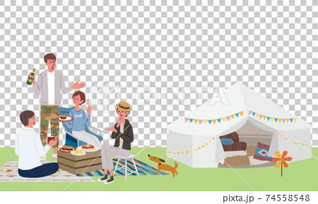 人們露營的插圖水平構圖春季/夏季 74558548