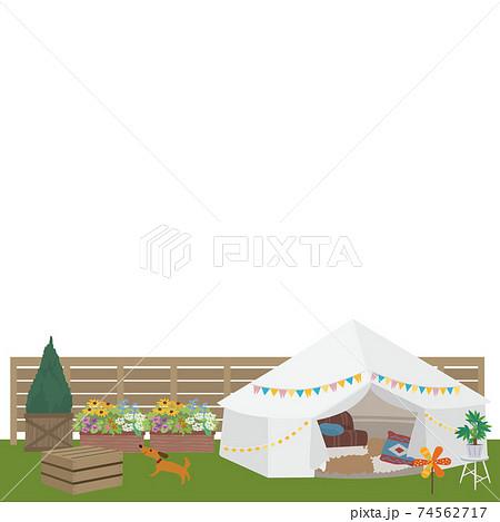 ベランピング イラスト ピクニック キャンプ 74562717