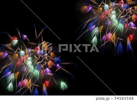 花火大会のイメージ素材。彩色千輪。 74563508