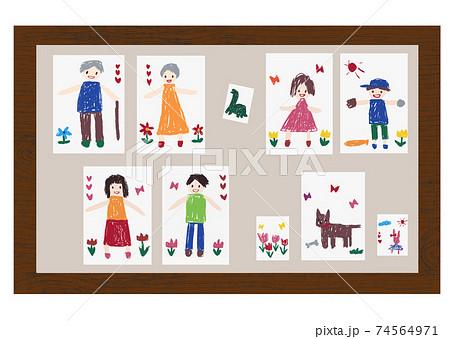 クレヨンで子供が描いたような祖父母や家族、ペットや恐竜などの絵をボードに貼り付けた手描きイラスト 74564971