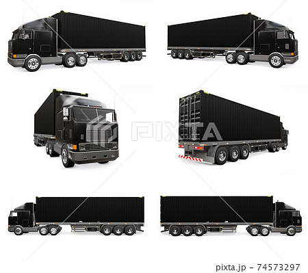 Set large retro black truck with a sleeping part and an aerodynamic extension carries a trailer with a sea container. 3d rendering. 74573297