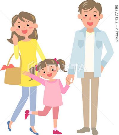休日に出かける父母と女の子 74577799