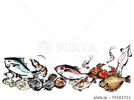 余白のある海鮮集合イラスト 74583721