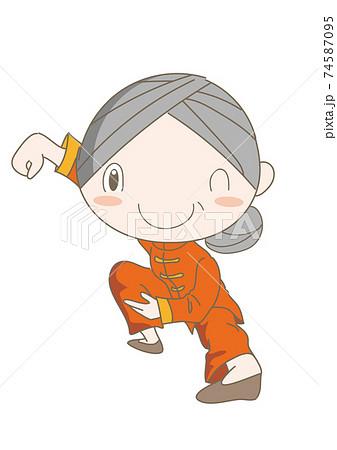 太極拳・ポーズをとるシニア女性 74587095